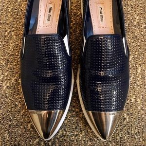 Authentic Miu Miu Cap-toe navy sneaker